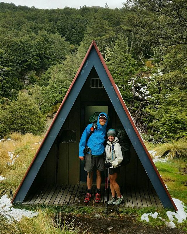 """We had our first SNOW of the year! We could not believe this new element of adventure in our last section. New Zealand definitely has """"Four Seasons"""" in a day! Our lovely friend, Lexi, offered to guest blog for us-- read her perspective of our journey on the blog! #TeAraroa"""