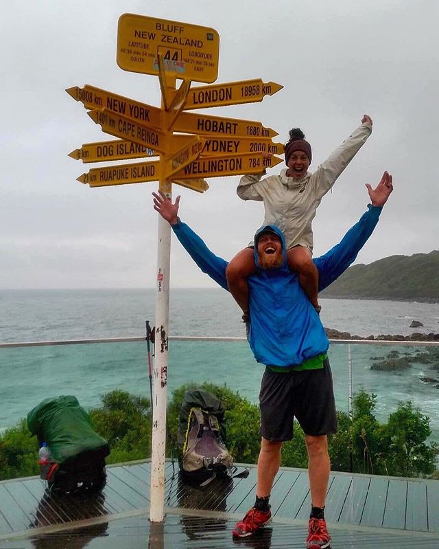 The day we completed the Te Araroa 4.20.16 | Cape Reinga to Bluff 3007 km, 140 days | Jer and I have walked the entire length of New Zealand and my heart is exploding with happiness! We have been changed forever by the people and our experiences on the trail. I am so thankful to the Lord for His constant strength, my husband for being the best adventure partner, and encouragement from our support team back home! WE MADE IT! #TeAraroa