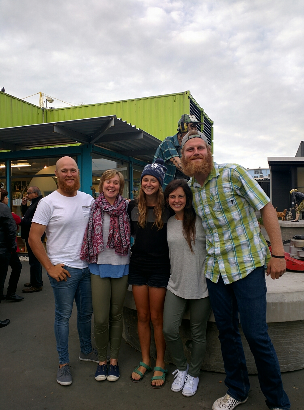 Look who we ran into at the container mall- our good friend from the trail, Becca! Our last day in New Zealand ahhh!