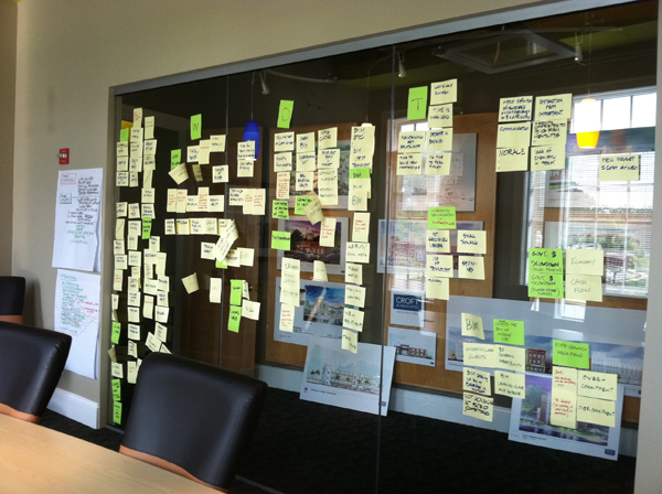 Results on the conference room wall after a successful meeting!