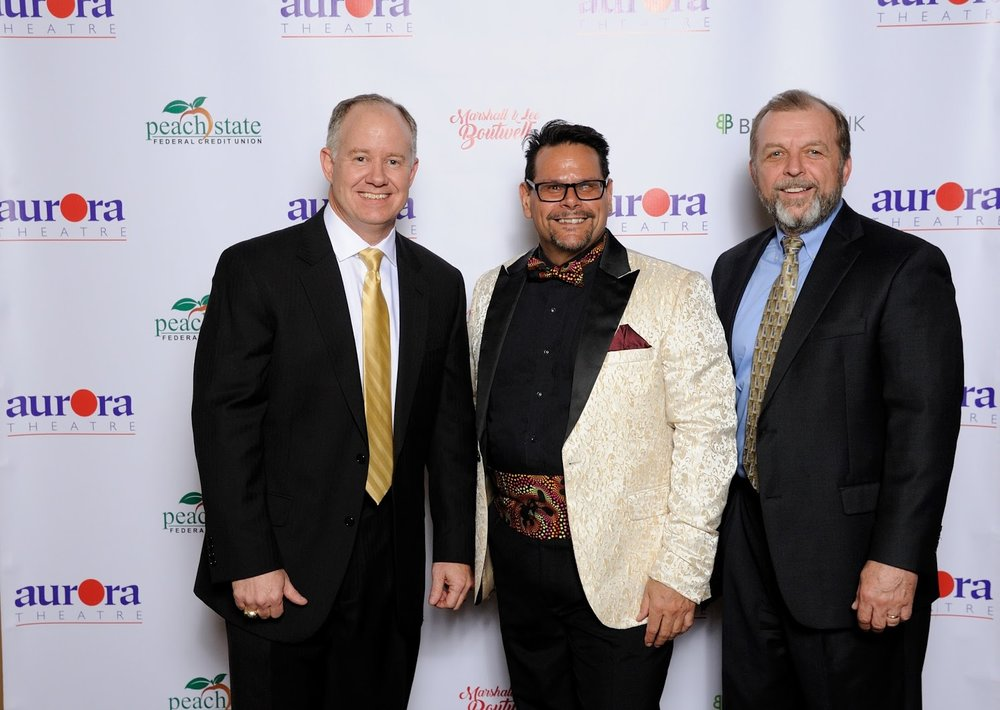 Kip Stokes and Jim Croft with Anthony Rodriguez, the Co-Founder and Producing Artistic Director for the Aurora Theatre.