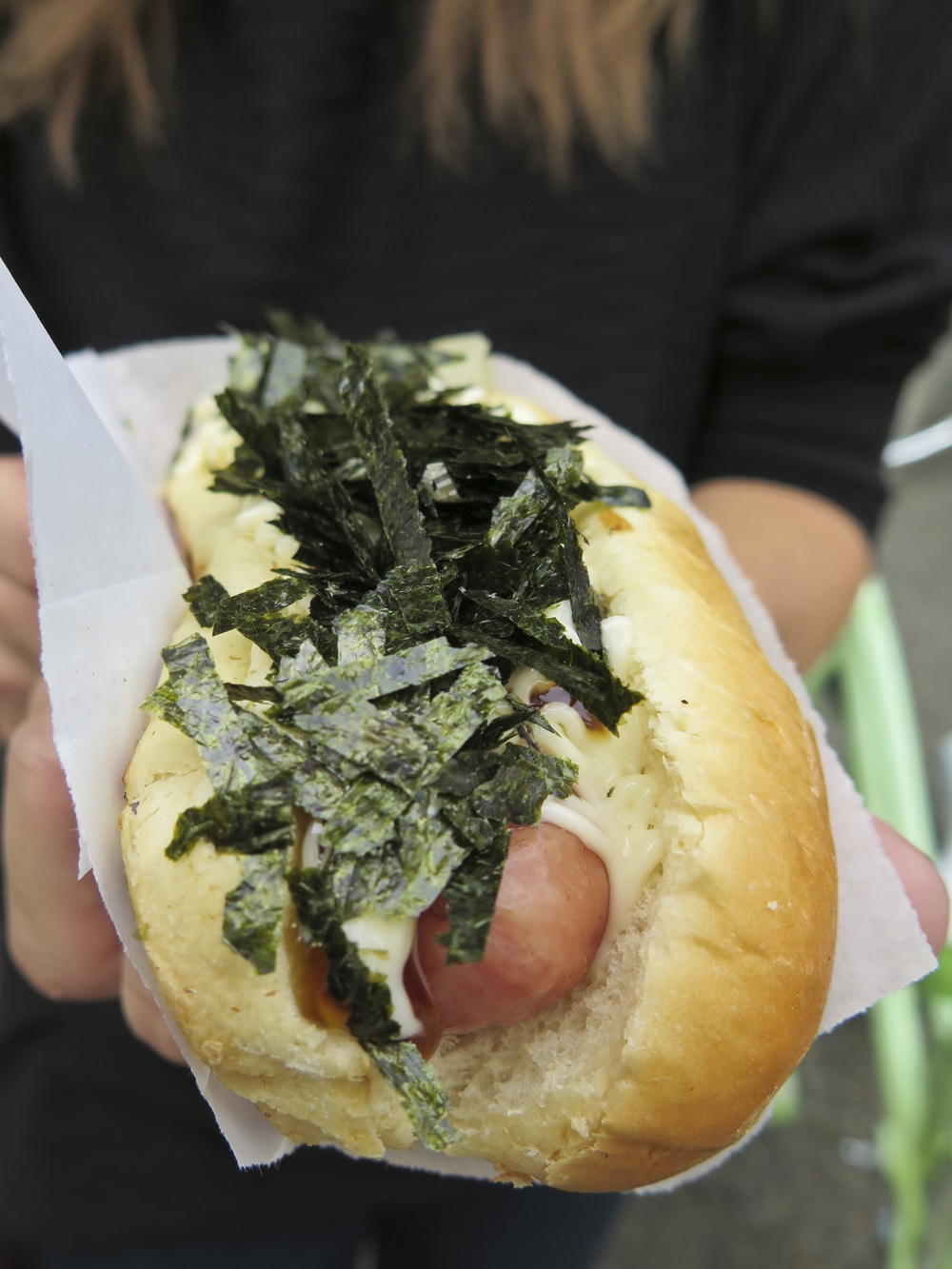 Terimayo dog topped with seaweed.