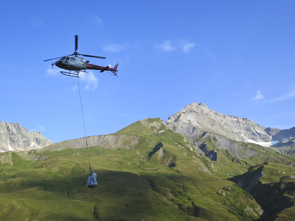 Due to the landscape much of the items in these mountain refuges are dropped off by helicopter.