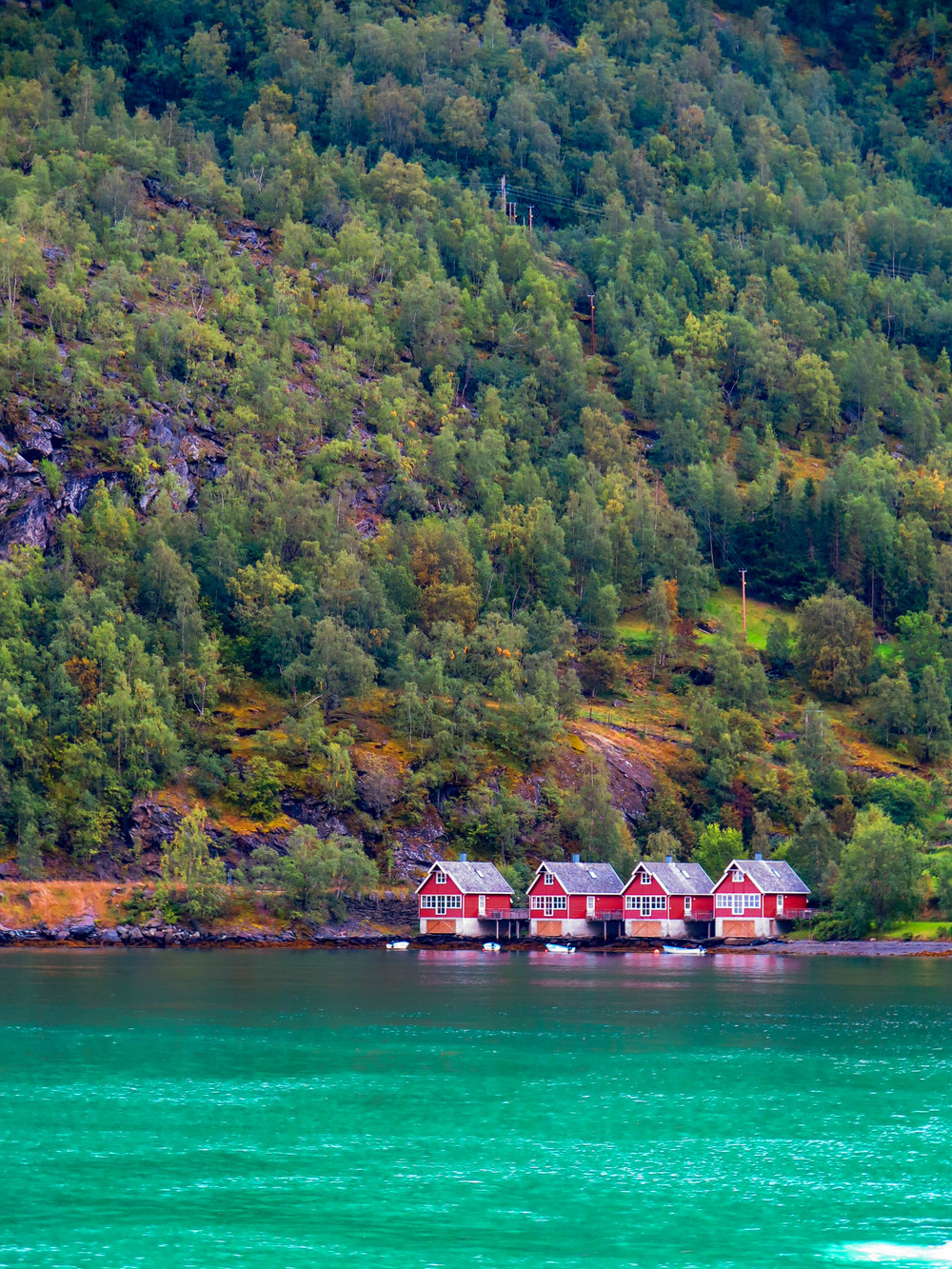 Tiny houses in Flam along the fjord