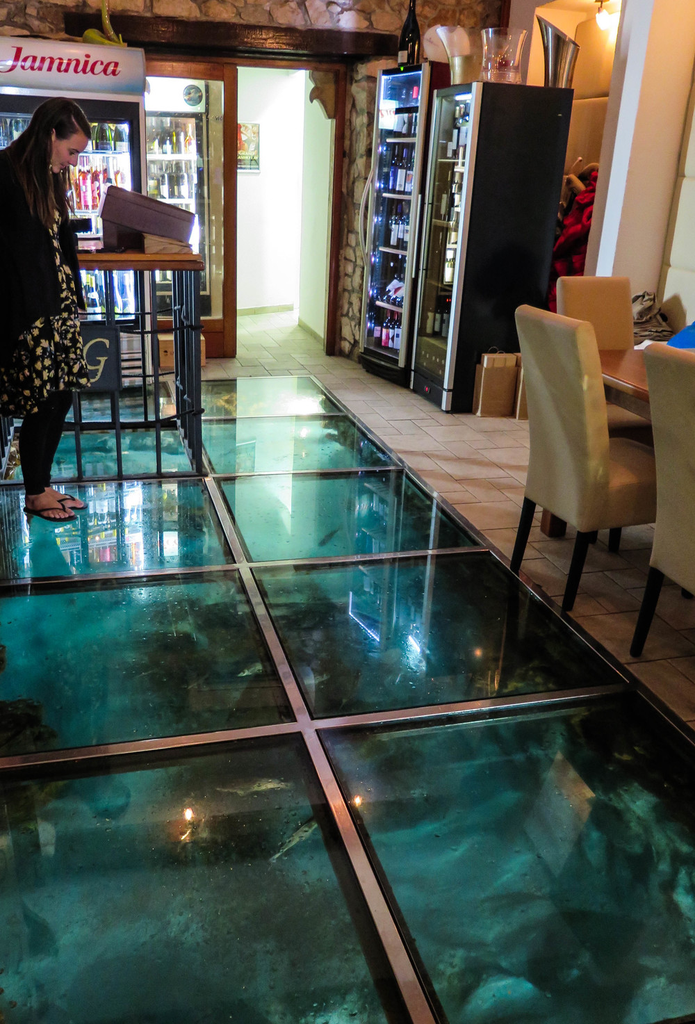 Glass floor in our restaurant.