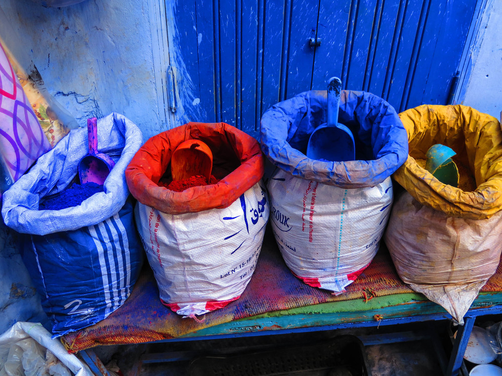 Colorful dyes sold along the streets.