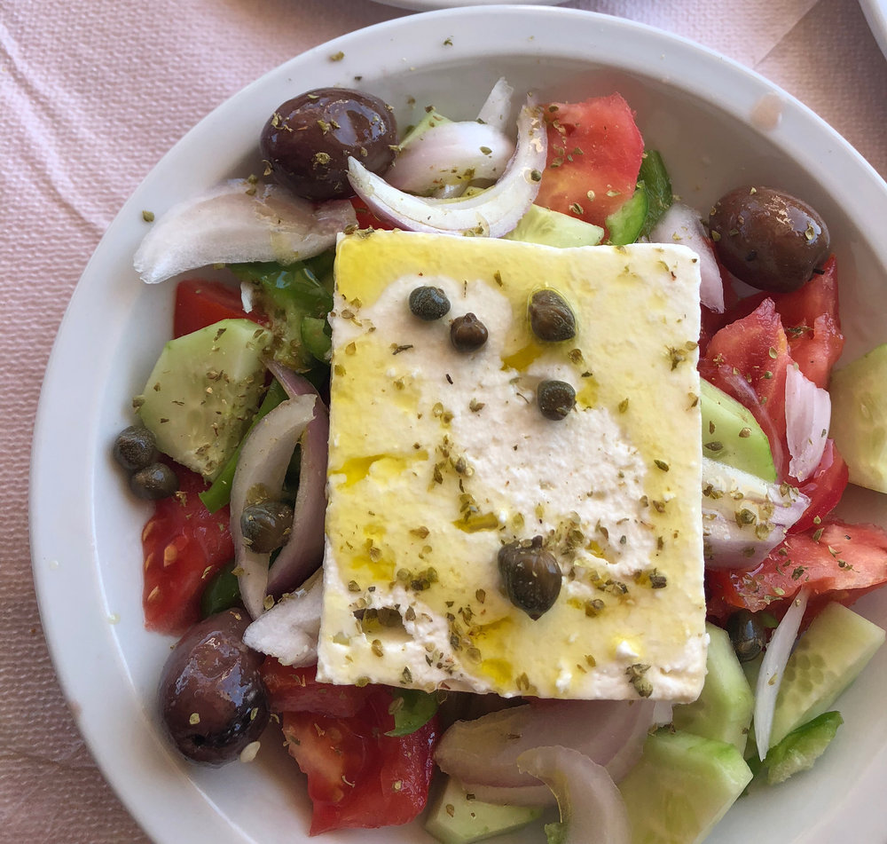 Greek Salad with a slab of Feta Cheese from Koukos Taverna