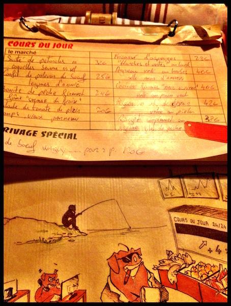 The list of specials at Chez L'ami Jean