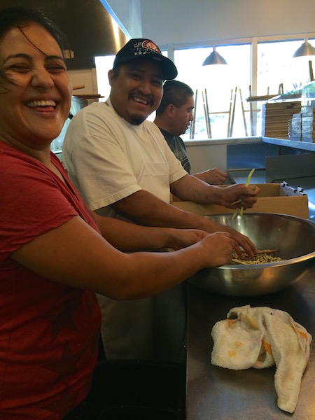 Karina, Cesar & Maynor - this particular day they all stayed long after closing to help me tackle a huge box of black eyed peas for a private dinner.