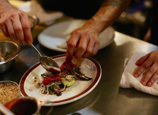 Grilled Summer Squash, Lentils Vinaigrette, Pickled Shallots, Roasted Red Peps