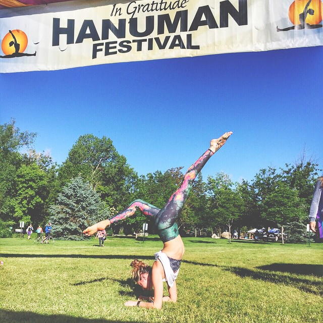Pumped for day 2 at @hanumanfestival! About to rock out some arm balances with Rodney Yee and his beautiful wife @colleensaidman!