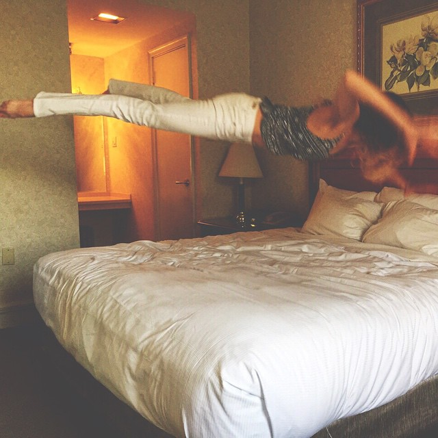 I mean, really. Who doesn't come to a hotel and immediately jump on the bed? Anybody? Bueller?