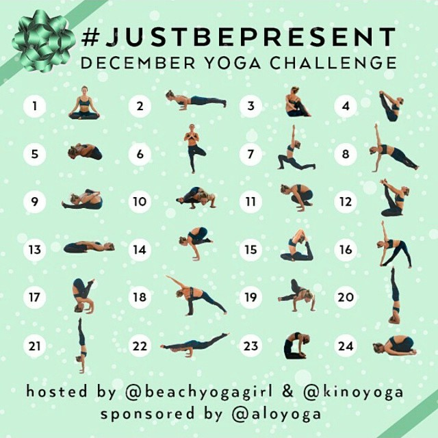 amandaon-line :     Taking up a December Yoga Challenge… If you are new to yoga these are great for learning new poses, not to mention the surprise giveaways are exciting! #justbepresent put on by @beachyogagirl & @kinoyoga and sponsored by @aloyoga make sure to follow them and join in the fun :)