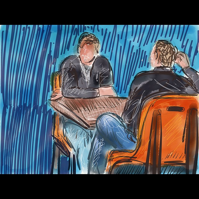 2 older gentleman talking about days gone by. Starbucks sketch 2. #art #drawing #sketch #paper53 #digital #line #color #ipad #starbucks #coffee #booth #reminisce #conversation #men #illustration #talking #oldfriends