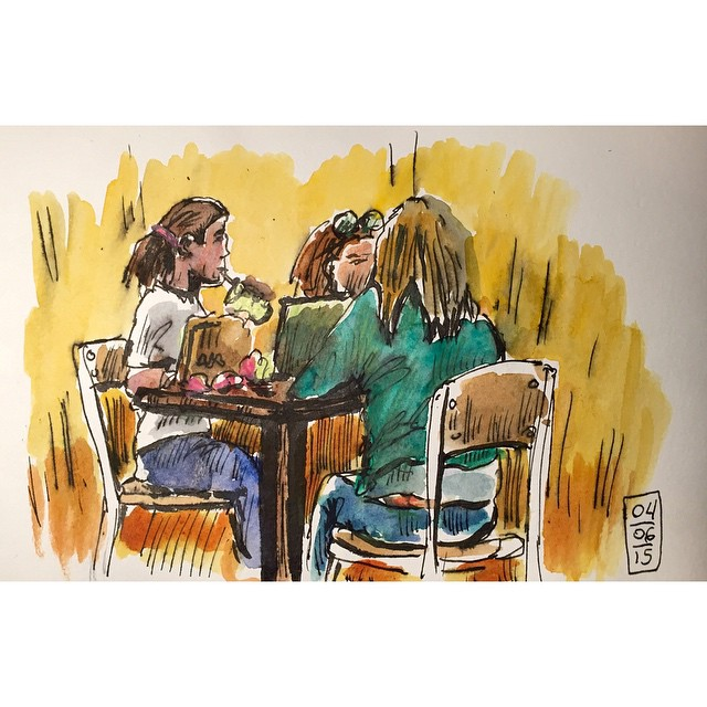 2 girls and mom. Sketch at the mall #art #sketch #moleskine #ink #watercolor #sketchbook #mall #foodcourt #girl #eat #artoftheday
