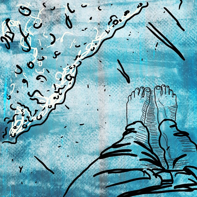 Art Sketch Feet Beach Water Ocean Shore Toes Sand Texture Lineart 100DaysofiPhoneSketches SQ Blue Drawing Woman