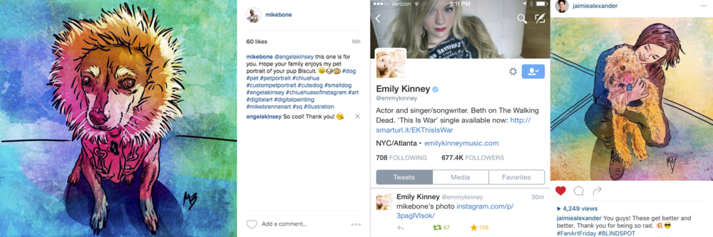 Angela Kinsey, Emily Kinney and Jaimie Alexander are among a few celebrities who have taken notice of Mike's work.