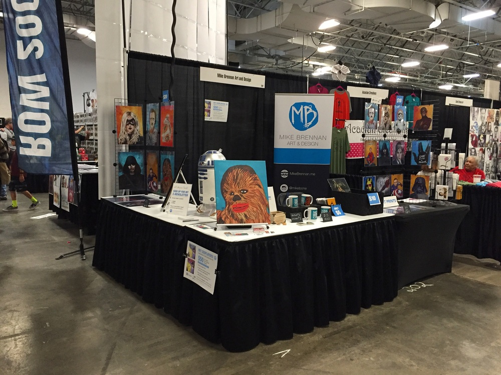 My corner booth set up at the Heroes and Villains Fan Fest, NJ.
