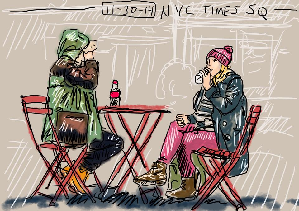 A digital sketch of tourists seated in Times Square, NYC. 11/30/14