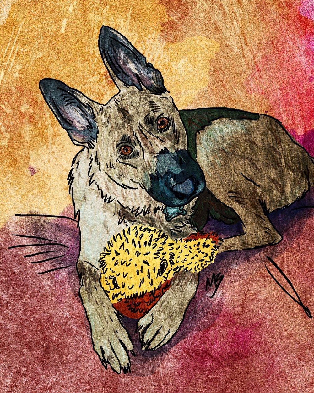 2. Your digital pet portrait created. Woof!