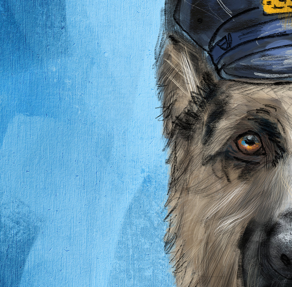 "Close up detail of ""Police Officer - German Shepherd"" Painting."