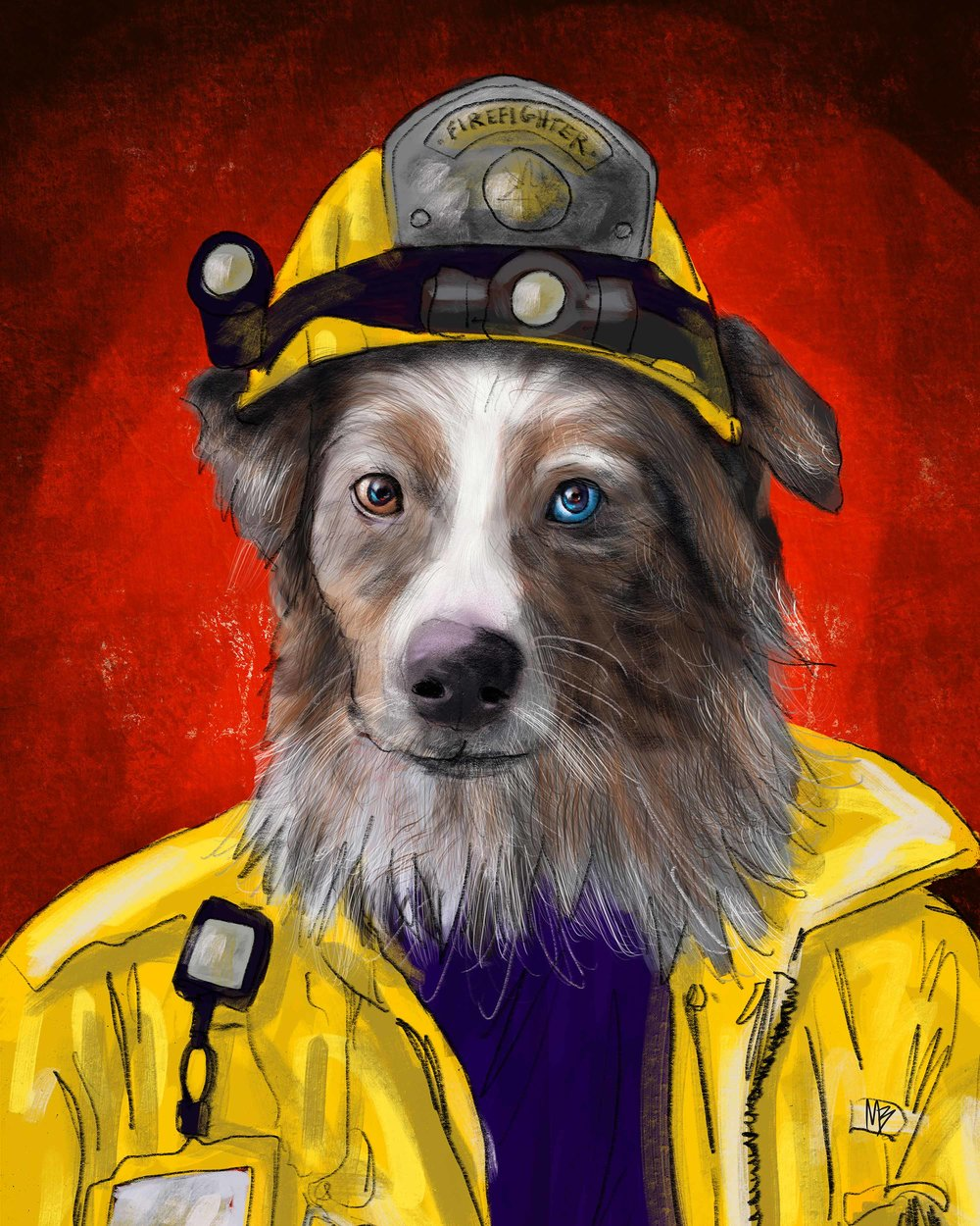 Firefighter Aussie Shepherd Uniform Pets