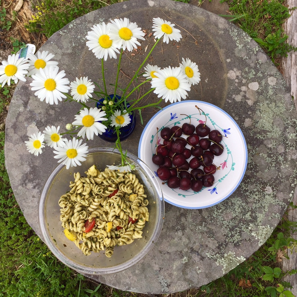 Upstate Summer Snacking: Pasta Salad & Hudson Cherries