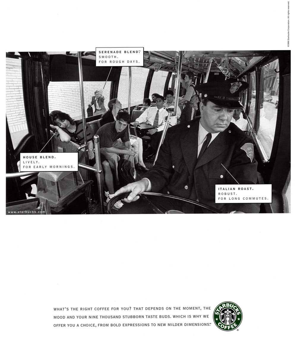 Starbucks Taste Spectrum Campaign  BBDO, Los Angeles 1998