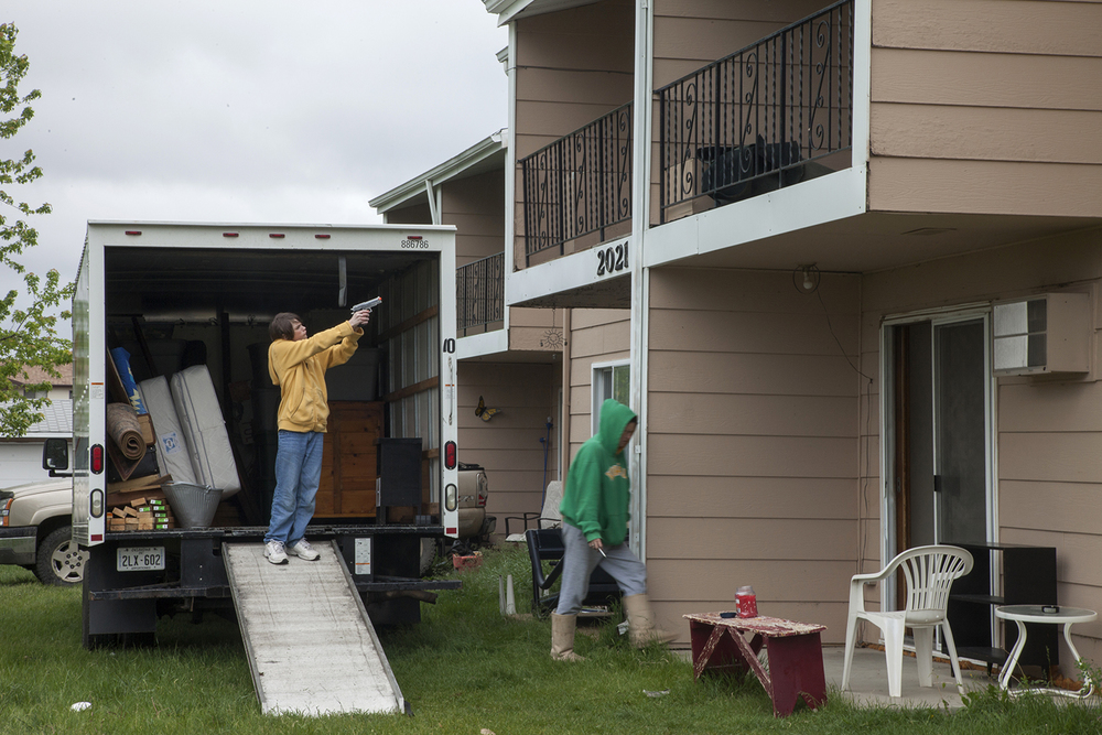 Eviction from apartment complex that will soon house oil workers  Williston, ND.  2012