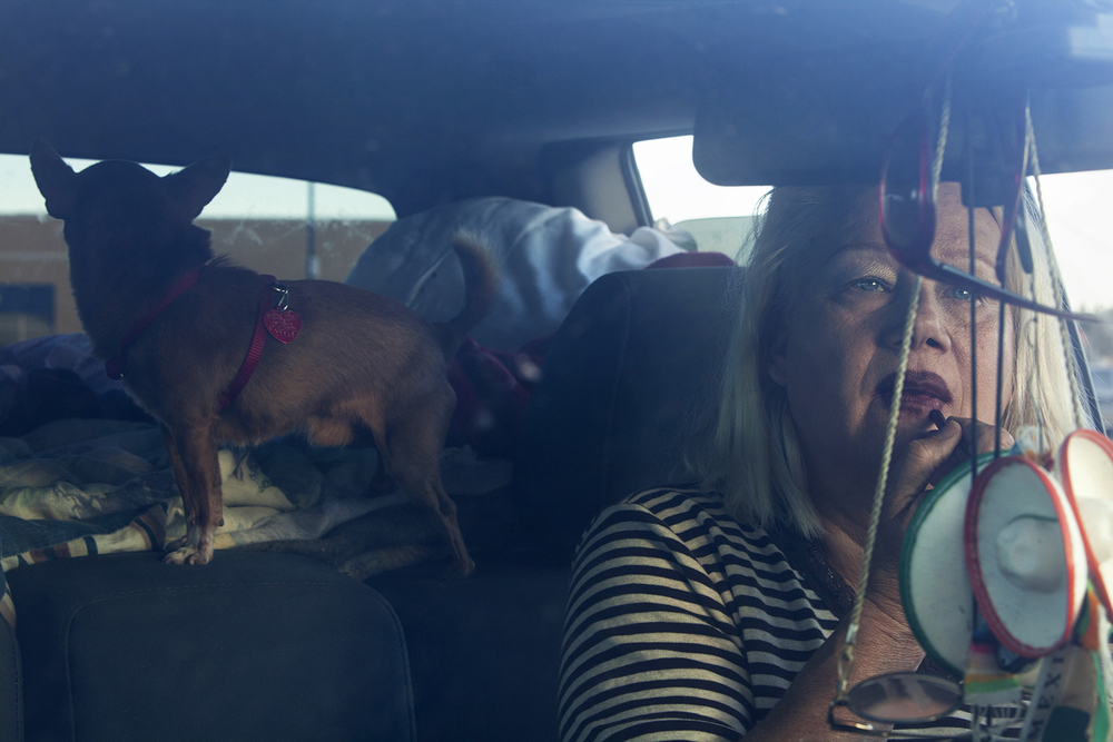 Many of those seeking work in the oil patch live in their cars with their pets  Willison, ND.  2012