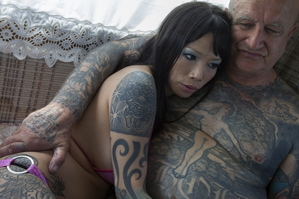 Tattoo artist and his wife  Williston, ND.  2012