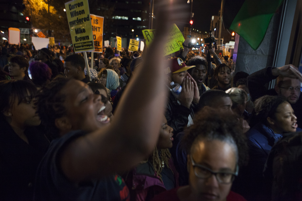 Demonstraters marching in common cause with those in Ferguson, Missouri  Washington, DC.  2014