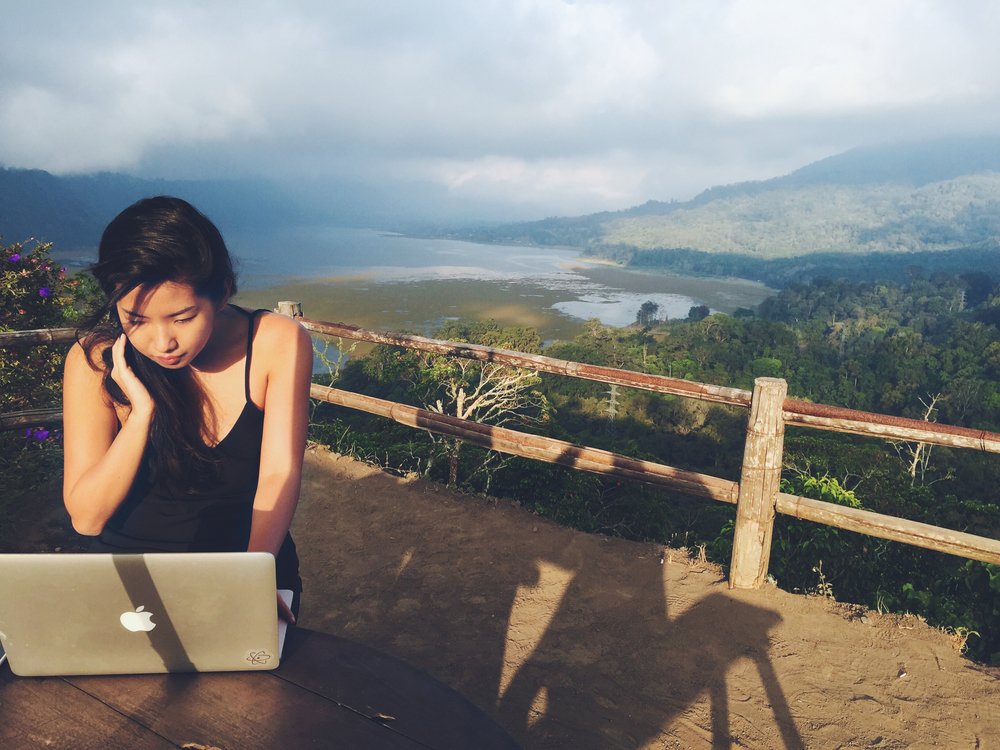 Melissa working from Bali.
