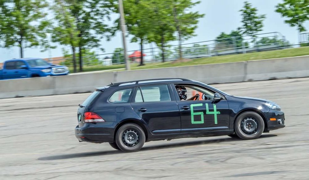 When my Miata was out of commission, I took my bone stock TDI station wagon autocrossing! Picture by Deep Gil