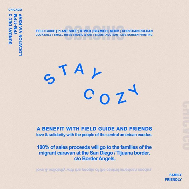 Hey Chicago friends, we're throwing a cozy little benefit kickback this Sunday, with some of the city's best.  Small Bites by @herbalnotes  Live Screen Printing by @rtwlr.co  Micheladas by @bigmichchicago  Live Art by @onlyecan and @Roldan.aponte Music by @mdok312  And drinks by us!  Plus, a special silent auction featuring custom terrariums by @plantshopchicago  and ceramics by @ashleylinpottery . 