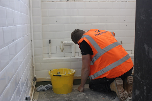 refurbishing the toilets