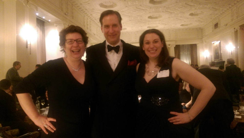 Three very happy new Baker Street Irregulars in our finery: me, Tim Greer, and Jenn Eaker.