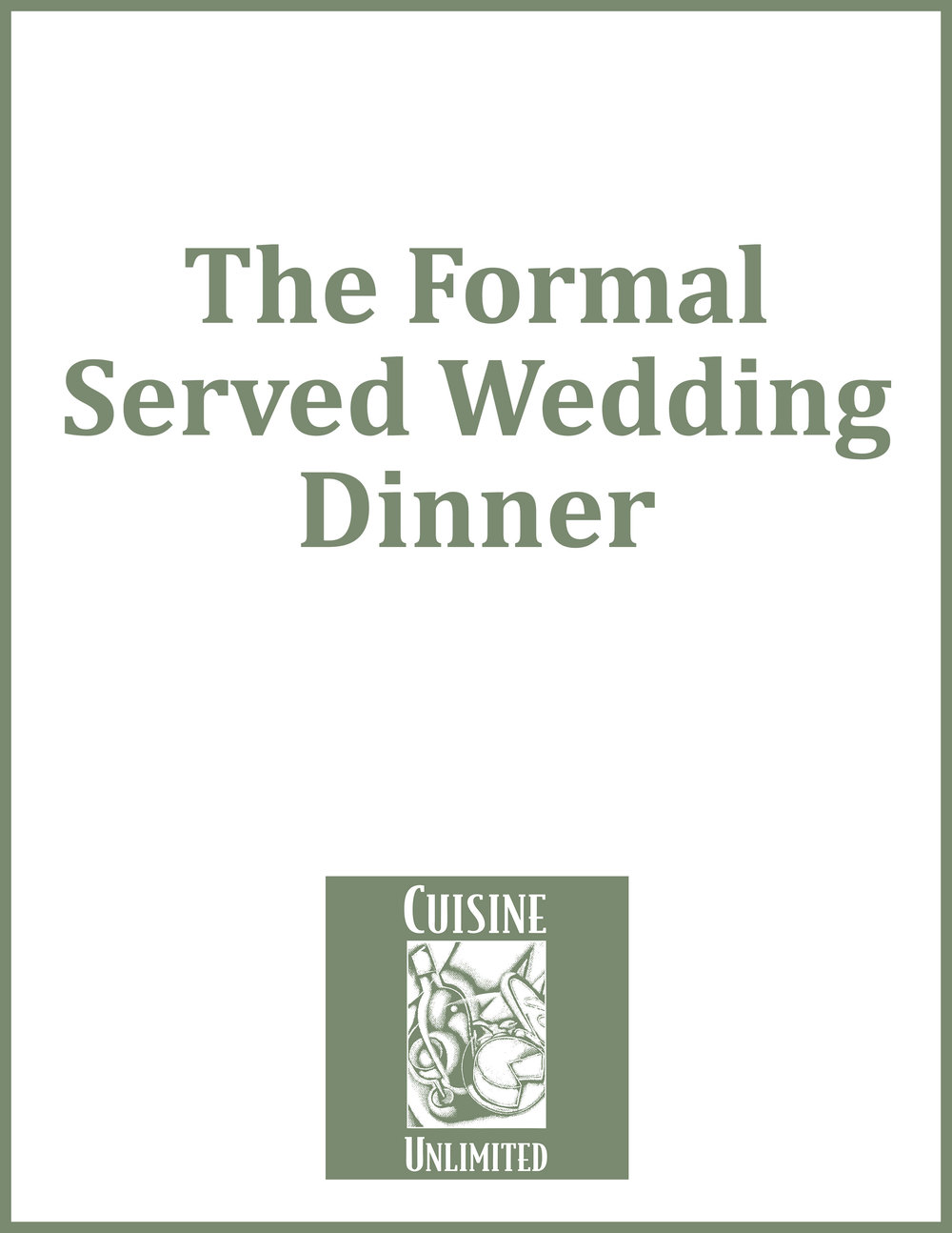 The Formal Served Wedding Dinner