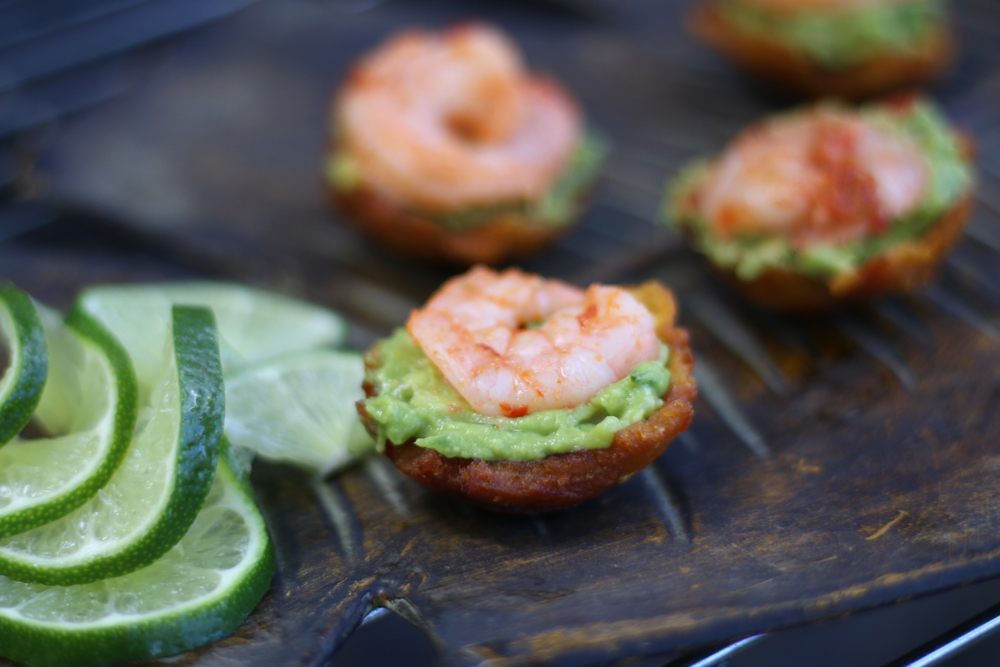 Plantain Crisp Cup with Fresh Avocado & Spicy Shrimp