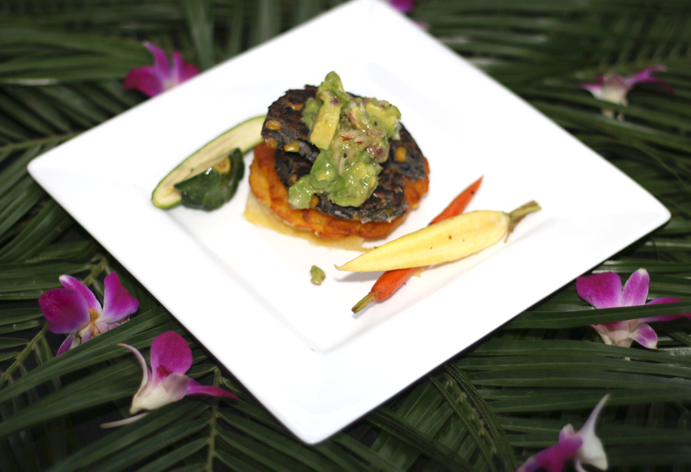 Black Bean & Corn Sope With Avocado Salsa, Smashed Yucca, & Baby Vegetables