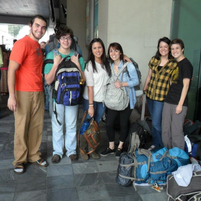 Kacie and the team arriving at the airport to launch the ministry in February 2013.