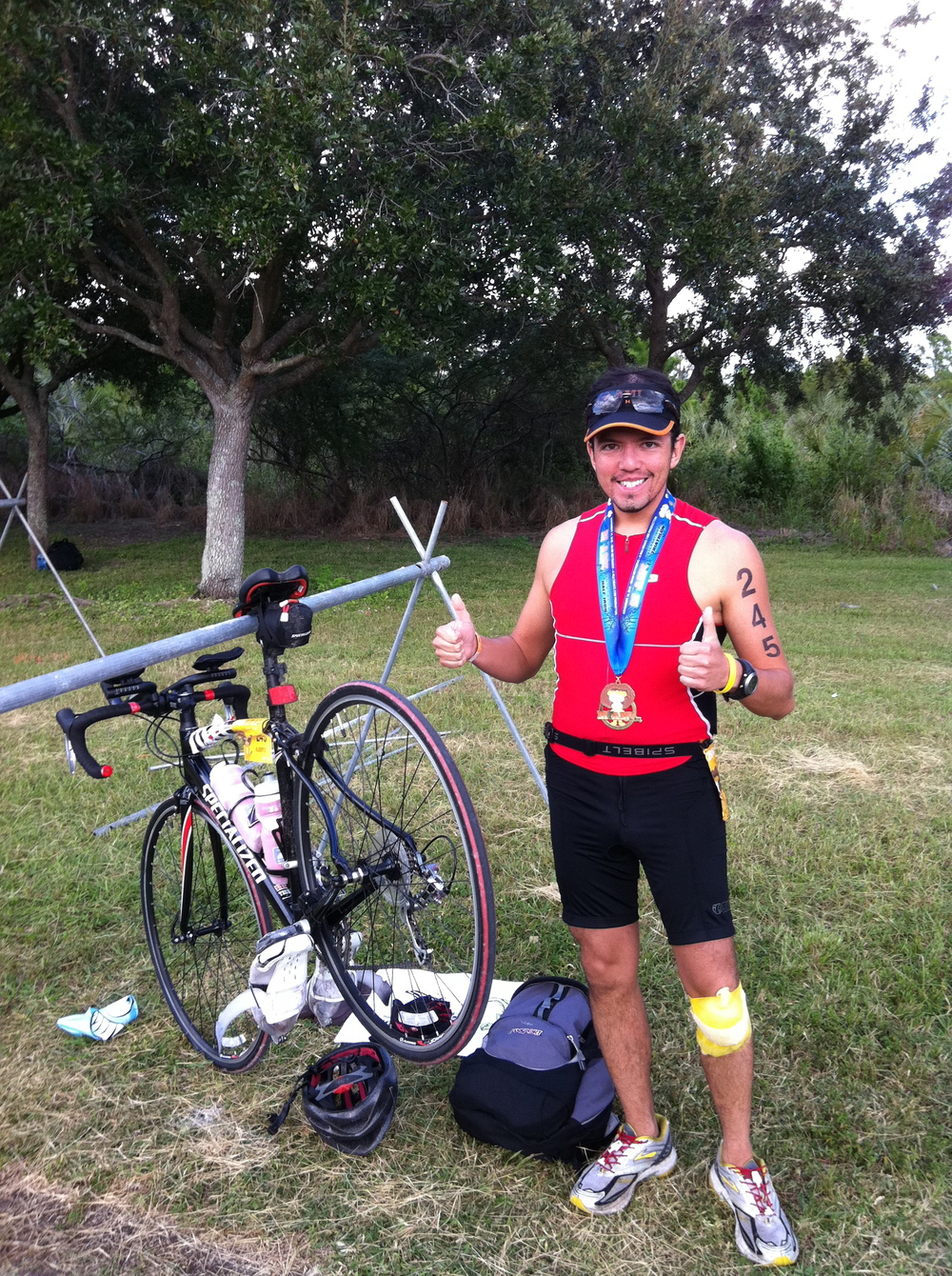 Nov 14, 2010: First Half Iron distance triathlon, Miami Man. Busted my knee, and finished the race walking.