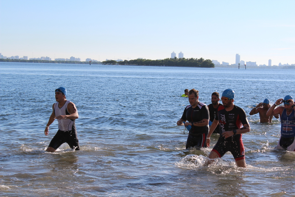 Finishing the swim, trying not to fall (or cut my foot)