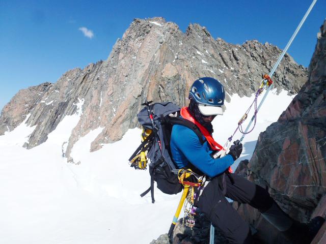 Abseiling off Mount Annan.