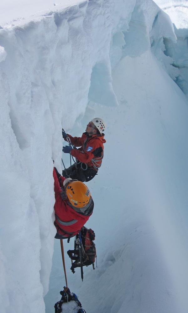 Crevasse rescue training.