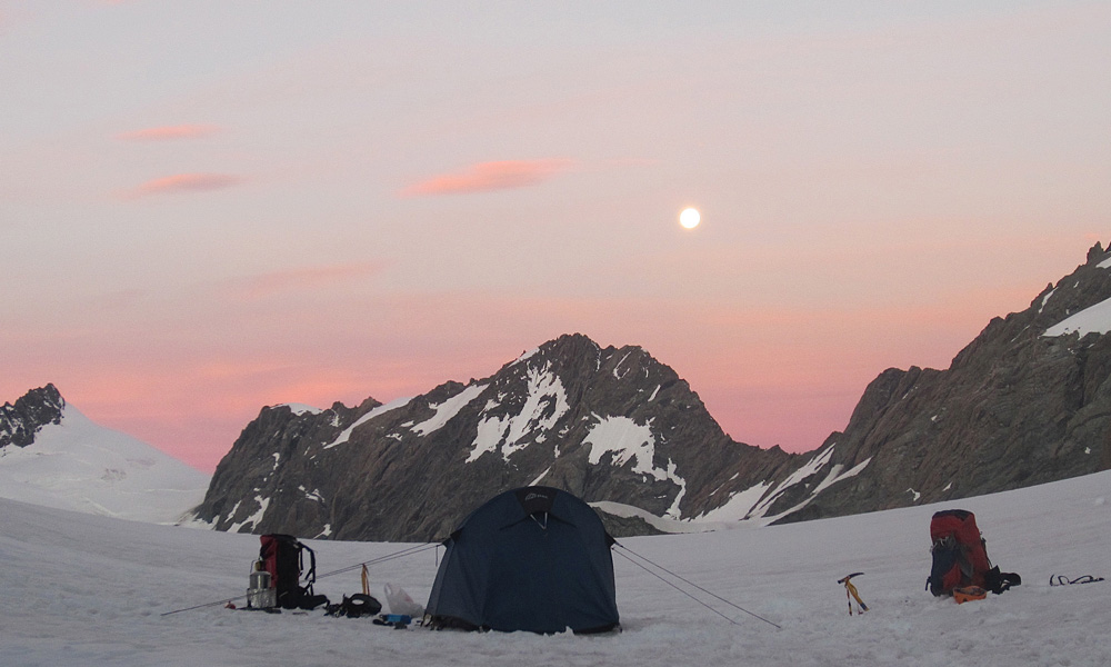 Camp on the Bonney Glacier.