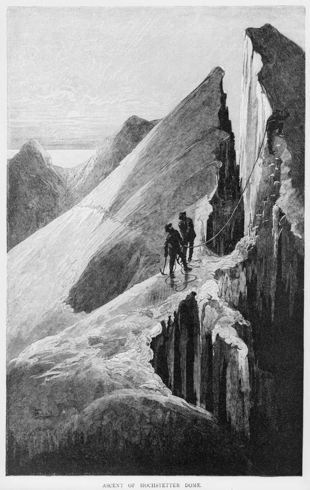 Ascent of the Hochstetter Dome [March 1883]. [Drawn by] F.Schell [Melbourne, Picturesque Atlas Publishing Company, 1886]. Permission of the Alexander Turnbull Library, Wellington, New Zealand, must be obtained before any re-use of this image.