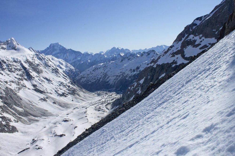 View north, down the Mueller Glacier.