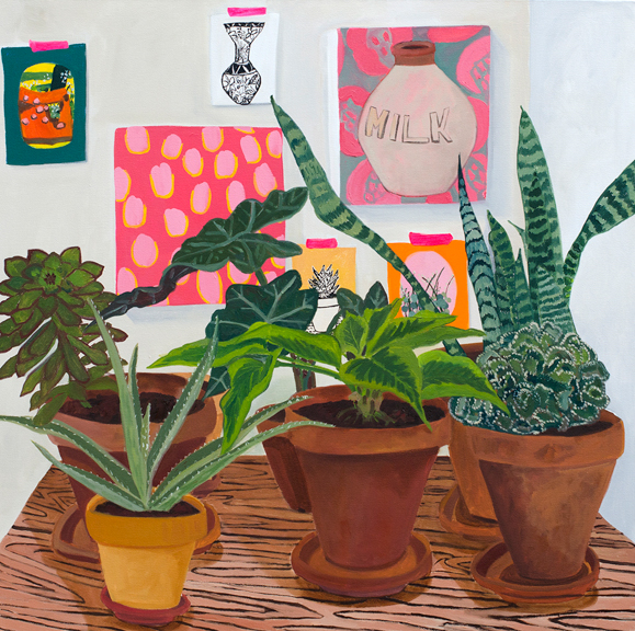 Plants and Drawings, 2014, oil on canvas, 36 x 36 inches