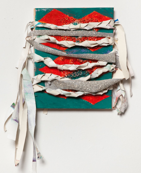 Braided Wrap, 2014, Acrylic paint, glitter, and fabric on canvas, 10 x 14 inches